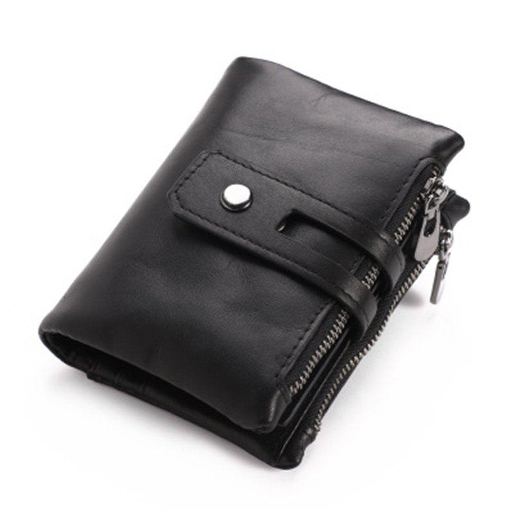 Wallets Long Men Purse Wallet Male Clutch Leather Zipper Wallet Men Business Male Wallet Coin - BLACK
