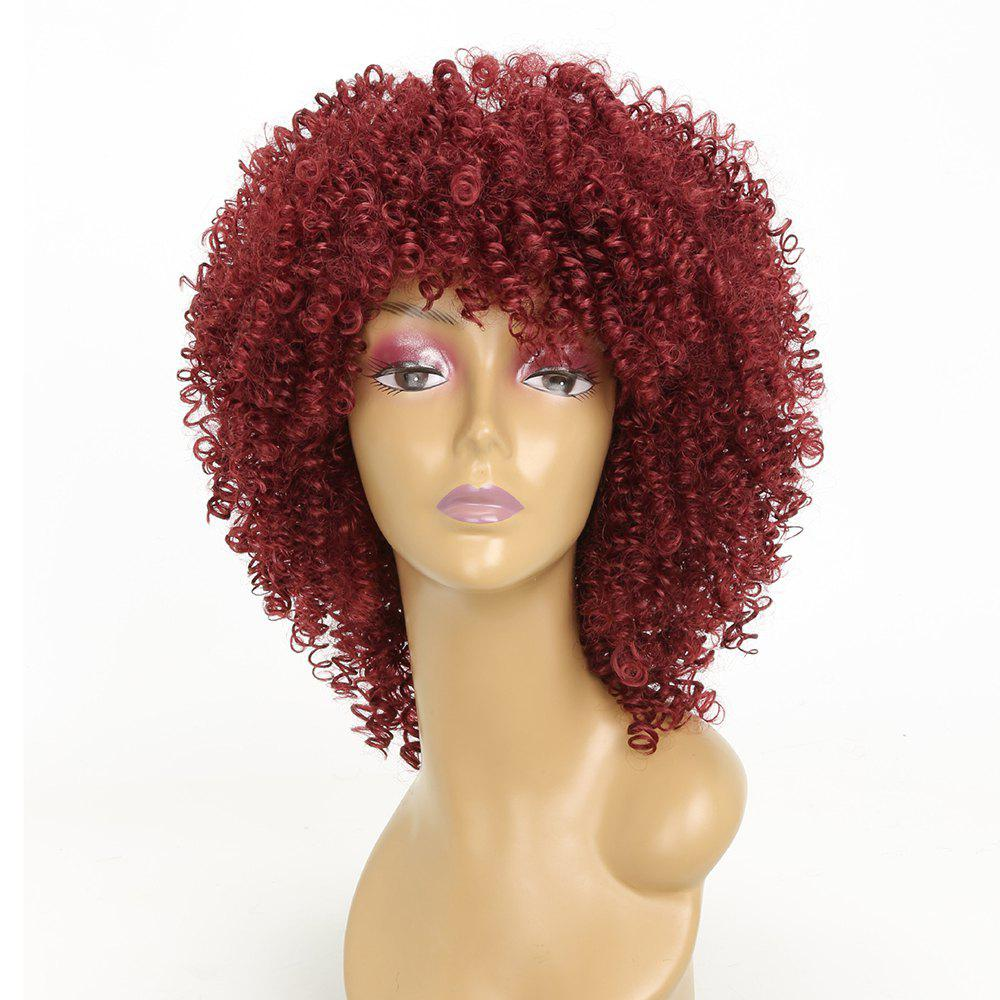 Wine Red Color Afro Curly Best High Temprature Fiber Synthetic Long Hair Wig for African American Women - WINE RED