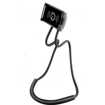 Flexible Hanging Neck Lazy Necklace Bracket Smartphone Holder Stand for iPhone  Huawei - BLACK