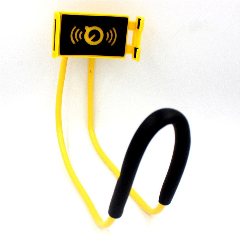 Flexible Hanging Neck Lazy Necklace Bracket Smartphone Holder Stand for iPhone  Huawei - YELLOW