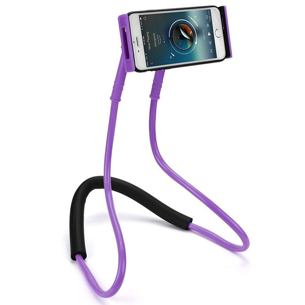 Flexible Hanging Neck Lazy Necklace Bracket Smartphone Holder Stand for iPhone  Huawei - PURPLE