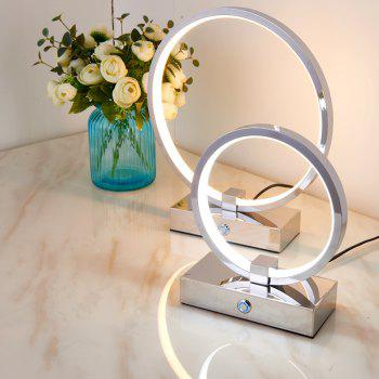 ZUOGE DJBTD006 Simple Creative Ring Type Hand Touch Hotel Desk Lamp 12W 18W White Light Warm Light Adjustable Light - SILVER 30CM-WHITE LIGHT MODULATION