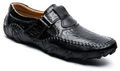 ZEACAVA Crocodile Large Size Men's Casual Business Peas Shoes - BLACK 42