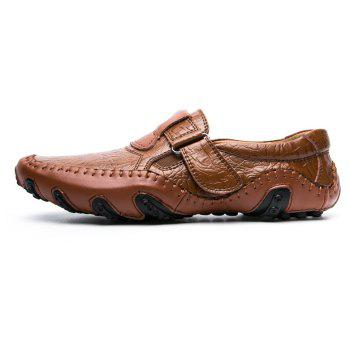 ZEACAVA Crocodile Large Size Men's Casual Business Peas Shoes - BROWN 40