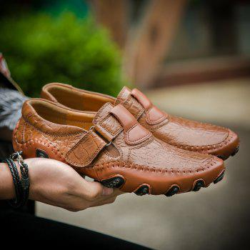 ZEACAVA Crocodile Large Size Men's Casual Business Peas Shoes - BROWN 47
