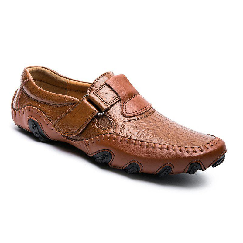 ZEACAVA Crocodile Large Size Men's Casual Business Peas Shoes - BROWN 44