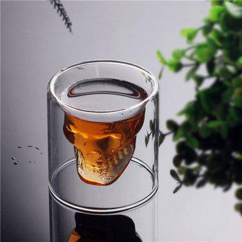 Creative Skull Shooting Glass Beer Cup Double Transparent Drink - TRANSPARENT 250ML