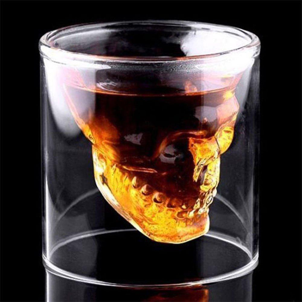 Creative Skull Shooting Glass Beer Cup Double Transparent Drink bone glass beer stan shooting glass head whiskey drinking popular design new fashion party