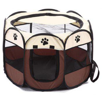 Portable Folding Pet Cage Eight Tent Entertainment and Exercise - BROWN