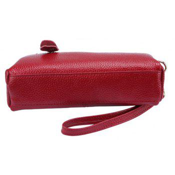 Women Fashion Genuine  Leather Clutch Small Hangbag for Ladies - RED HORIZONTAL