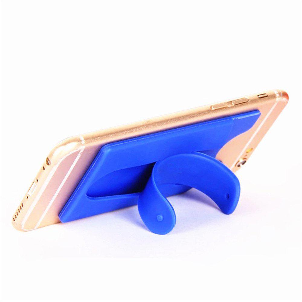Silicone Wallet Mobile Smart Adhesive Sleeve Card Holder for Phone with Stand - BLUE