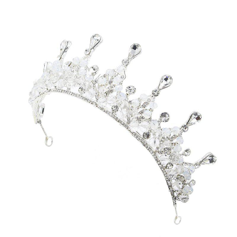 Wedding Bride Crystal Handmade Crown Hair Jewelry - SILVER