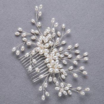 Wedding Bride White and Gold Hair Comb for Women Jewelry - SILVER