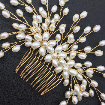 Wedding Bride White and Gold Hair Comb for Women Jewelry - GOLD