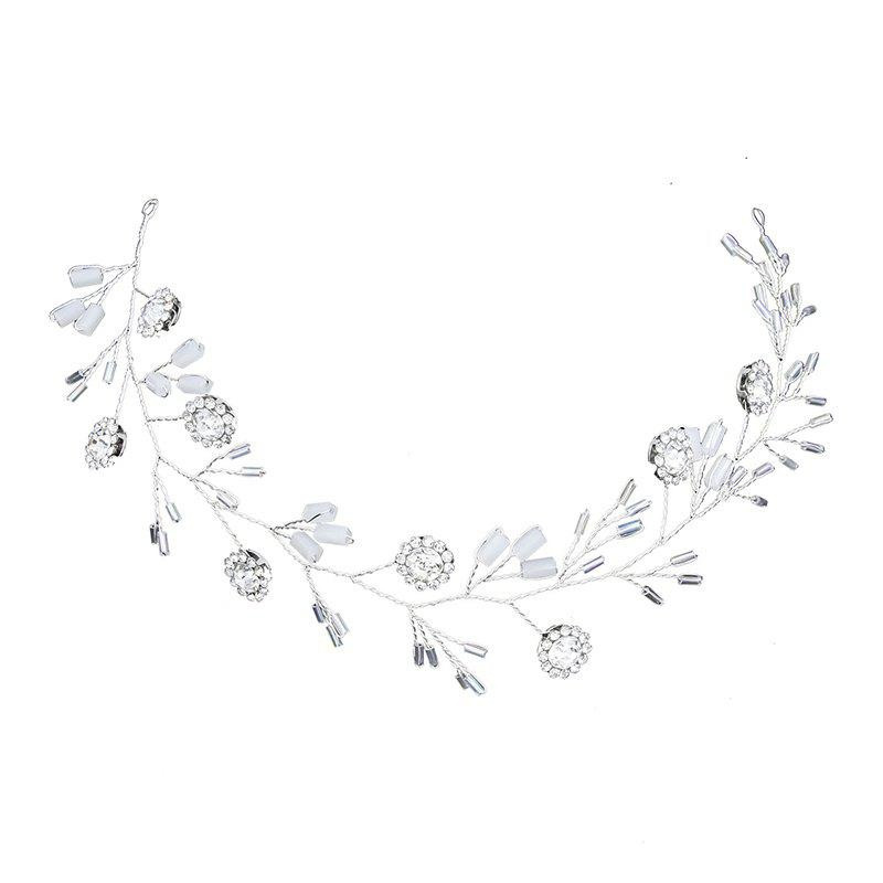Silver Round Crystal Headband Hair Jewelry for Women Bride - WHITE