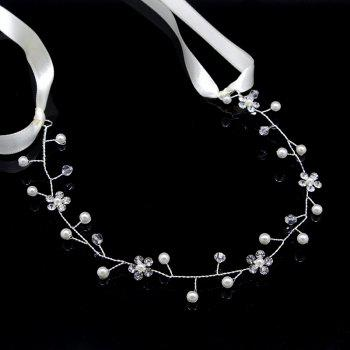 White Bead and Silver Flower Headband Hair Jewelry for Wedding Bride - WHITE