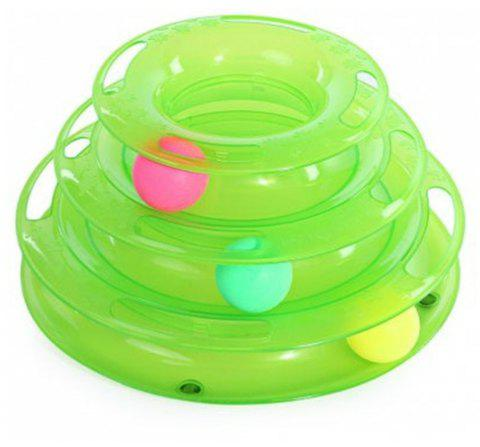 Cat Three Layers Turntable Scroll Ball Toy - GREEN