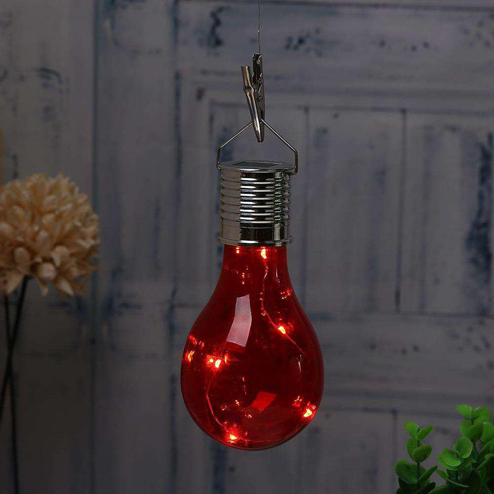 Hanging Solar Light Bulb with Hook - RED 3.8 X 7.5 X 15CM
