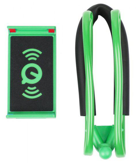 Flexible Hanging Neck Lazy Necklace Bracket Smartphone Holder Stand for iPhone Xiaomi Huawei - GREEN