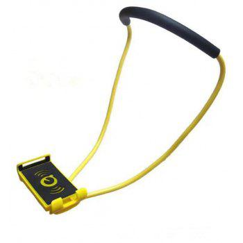 Flexible Hanging Neck Lazy Necklace Bracket Smartphone Holder Stand for iPhone Xiaomi Huawei - YELLOW