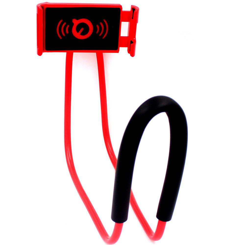 Flexible Hanging Neck Lazy Necklace Bracket Smartphone Holder Stand for iPhone Xiaomi Huawei - RED