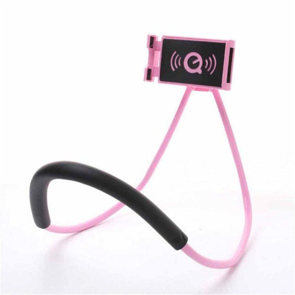 Flexible Hanging Neck Lazy Necklace Bracket Smartphone Holder Stand for iPhone Xiaomi Huawei - PINK
