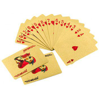Durable Waterproof Gold Foil Poker Playing Cards Deck Gift Board Games - GOLDEN
