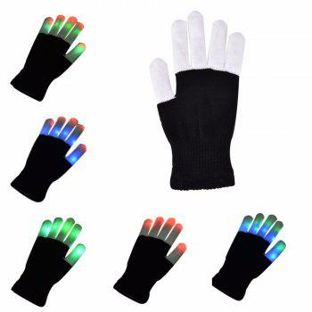 Novelty LED Finger Lighting Flashing Gloves Toy for Party - BLACK