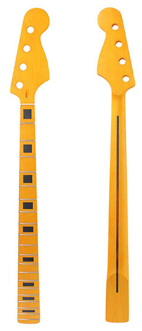 Electric Bass Guitar Neck Yellow Replacement Maple Wood 20 Fret Repair Parts - YELLOW