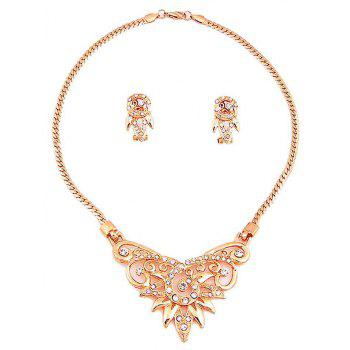 Vintage and Elegant Gold-plated Necklace Earrings and Ring Bracelet Jewelry Set - GOLDEN