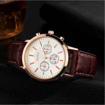 Fashionable Three-eye Fashion Men's Leather Business Casual Quartz Watch - BROWN/GOLD/GREY