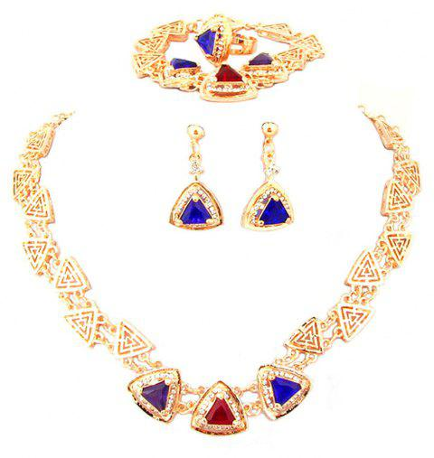 Diamond-encrusted Crystal Necklace Earrings with Three Sets - GOLDEN
