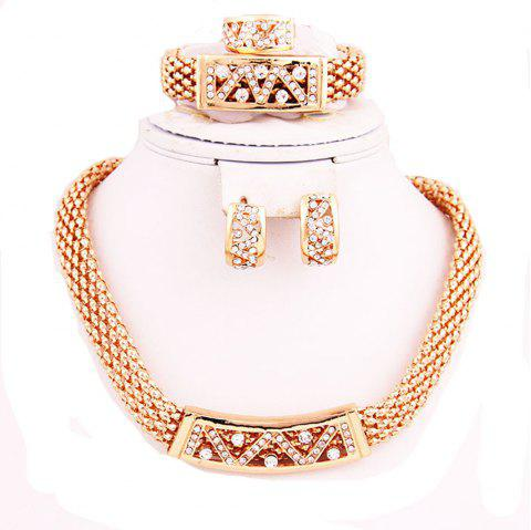 Gold-plated Fashion Alloy Necklace Earrings Jewelry Set - GOLDEN