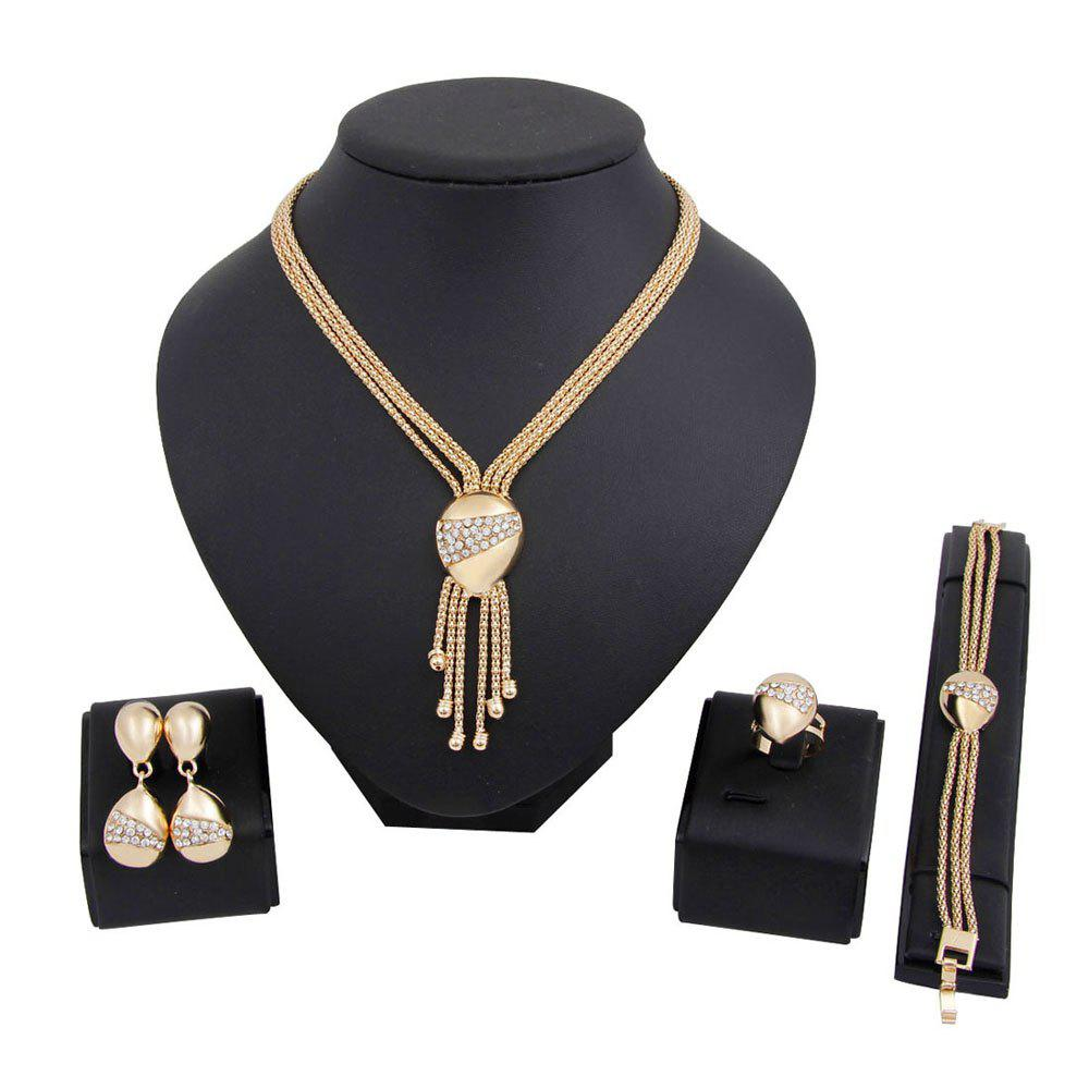 Gold-plated Necklace Earrings Bracelet Ring Style Jewelry Set - GOLDEN