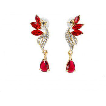 Crystal Swan Necklace and Earrings Suit - RED