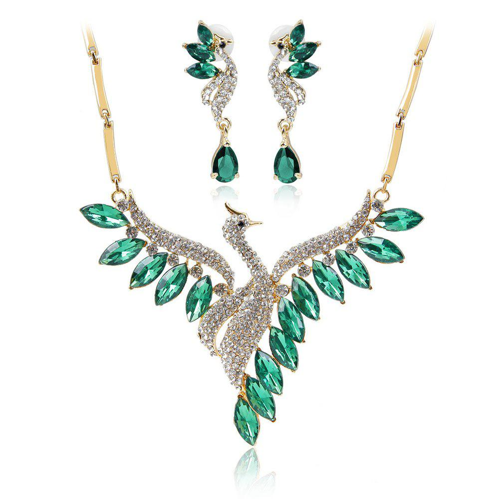 Crystal Swan Necklace and Earrings Suit - IVY