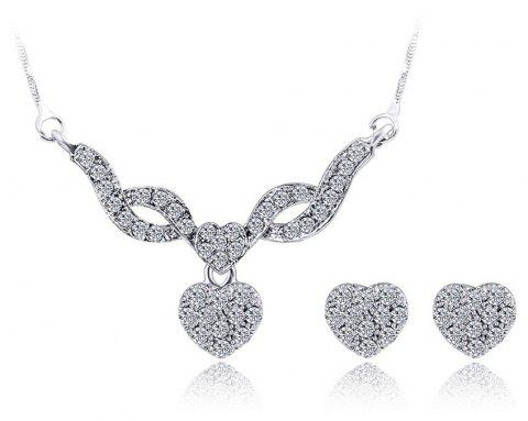 Water Drill Small Pendant Earrings Fashion Necklace Set - SILVER