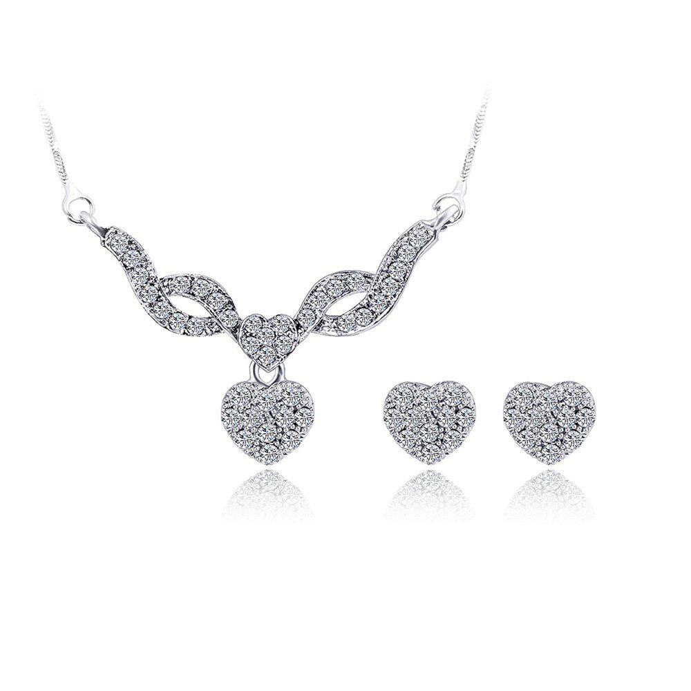 Water Drill Small Pendentif Boucles d'oreilles Fashion Necklace Set - SILVER