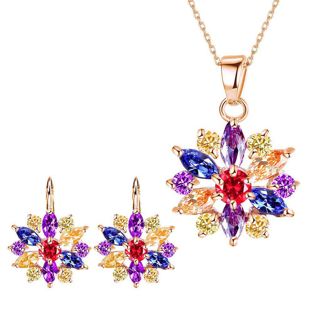 Small and Fresh Multicolor Needle-colored Drill Flower Necklace  with Two Sets of Earrings - multicolor