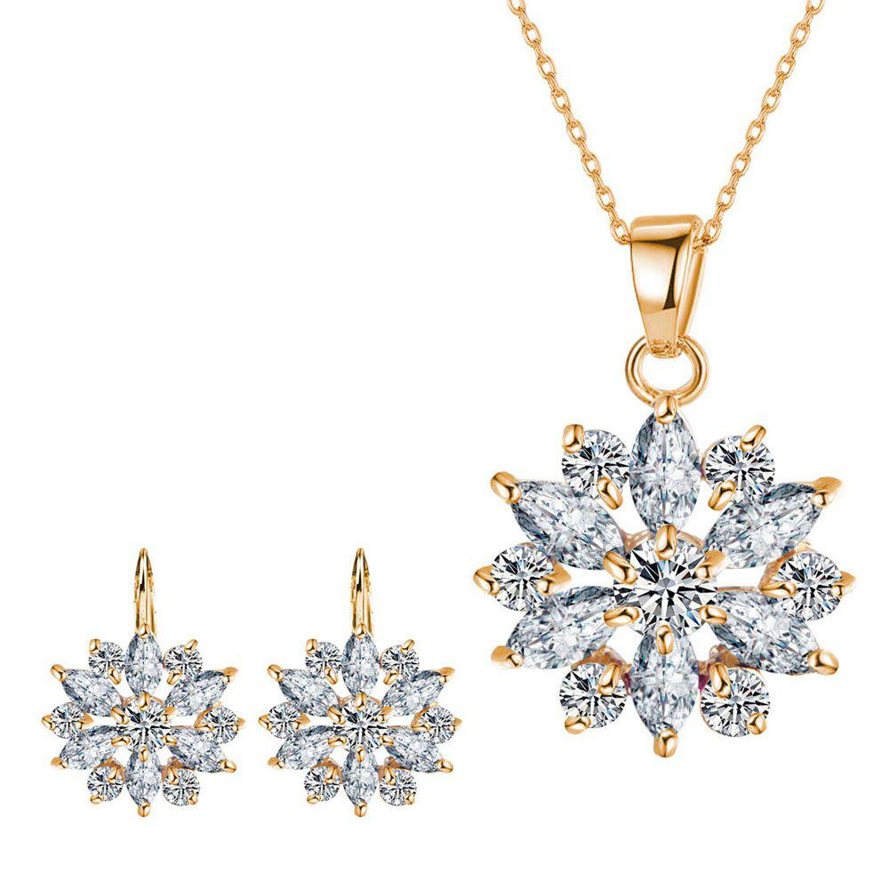 Small and Fresh Multicolor Needle-colored Drill Flower Necklace  with Two Sets of Earrings - GOLDEN