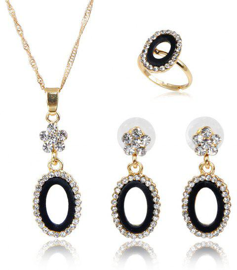 The Angel Ring Necklace with Diamond-encrusted Earrings with Three Pieces - BLACK