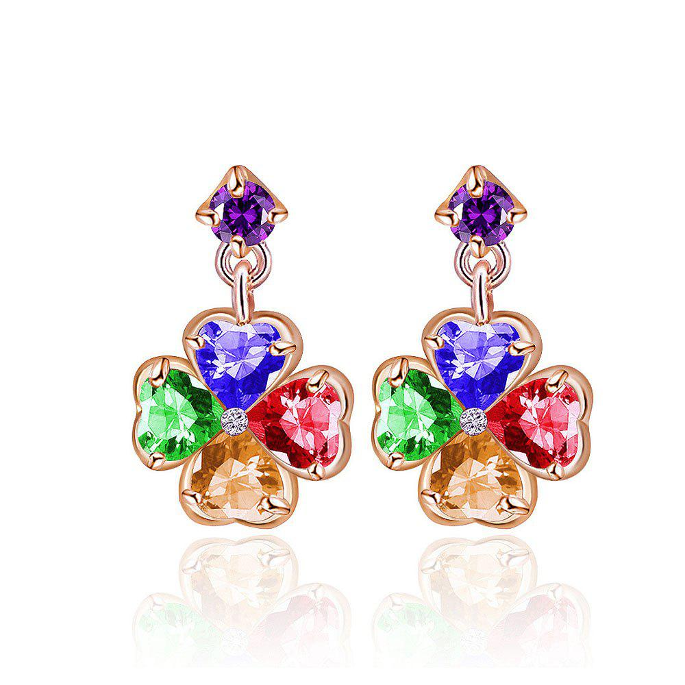 Colorful Crystal Earring Zircon Four-leaf Blade - multicolor