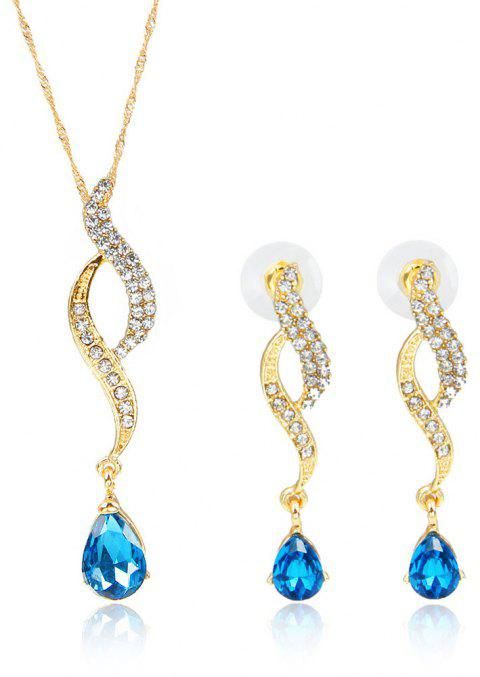 High-grade Luxury Water Drop Inlaid with Diamond Jewelry Set - BLUE