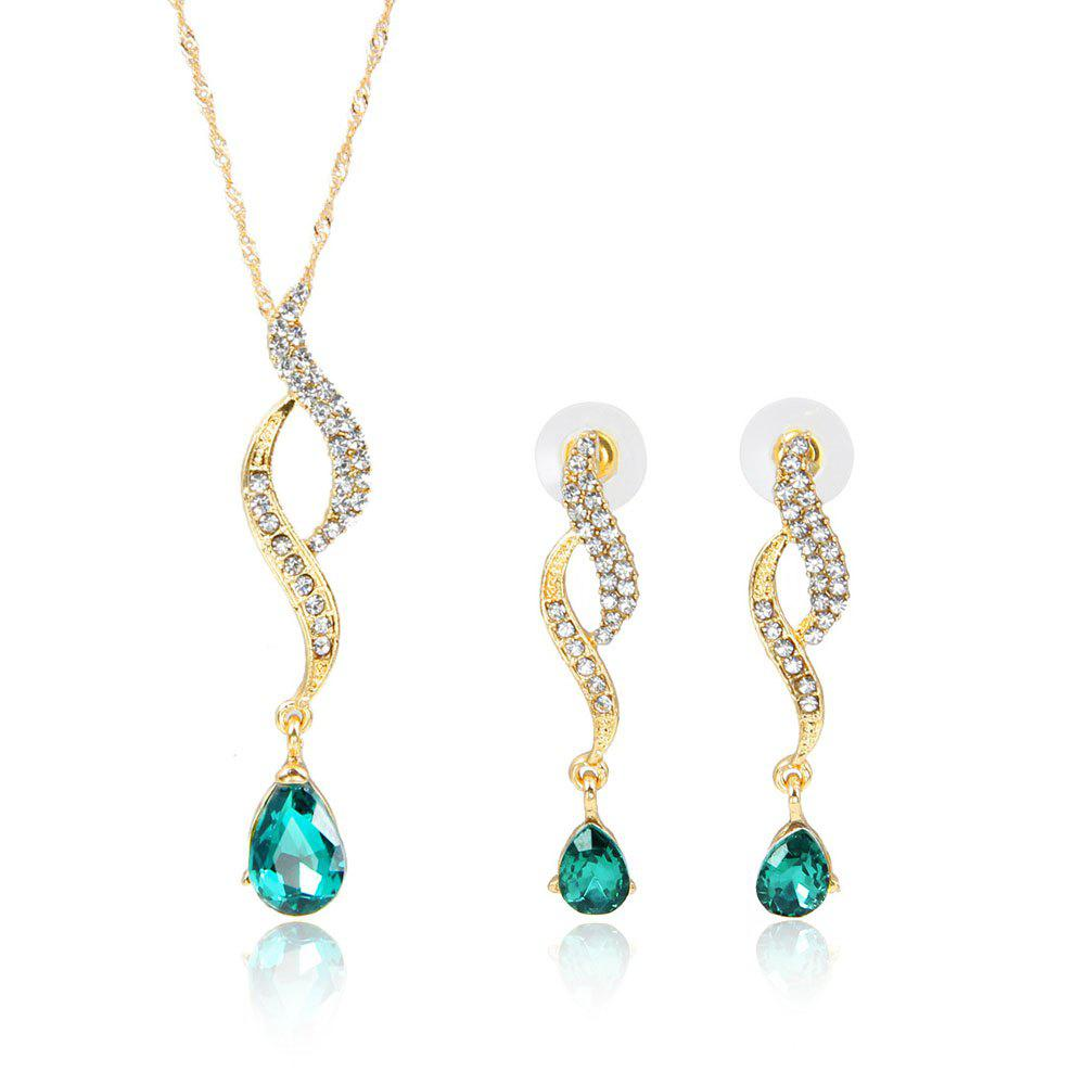 High-grade Luxury Water Drop Inlaid with Diamond Jewelry Set - IVY