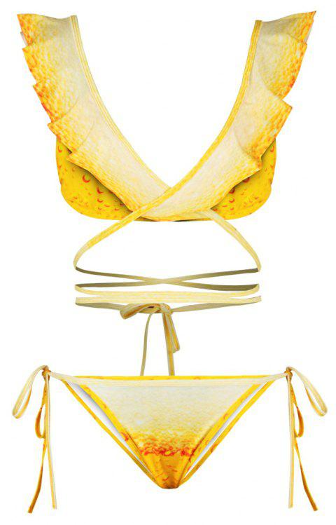 Sexy Backless Bikini Digital Print Swimwear Bathing Suit - YELLOW L