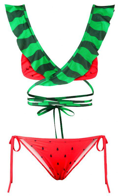 Sexy Backless Bikini Digital Print Swimwear Bathing Suit - GREEN/RED XL