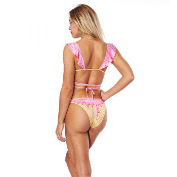 Sexy Backless Bikini Digital Print Swimwear Bathing Suit - PINK XL