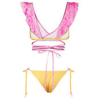 Sexy Backless Bikini Digital Print Swimwear Bathing Suit - PINK S