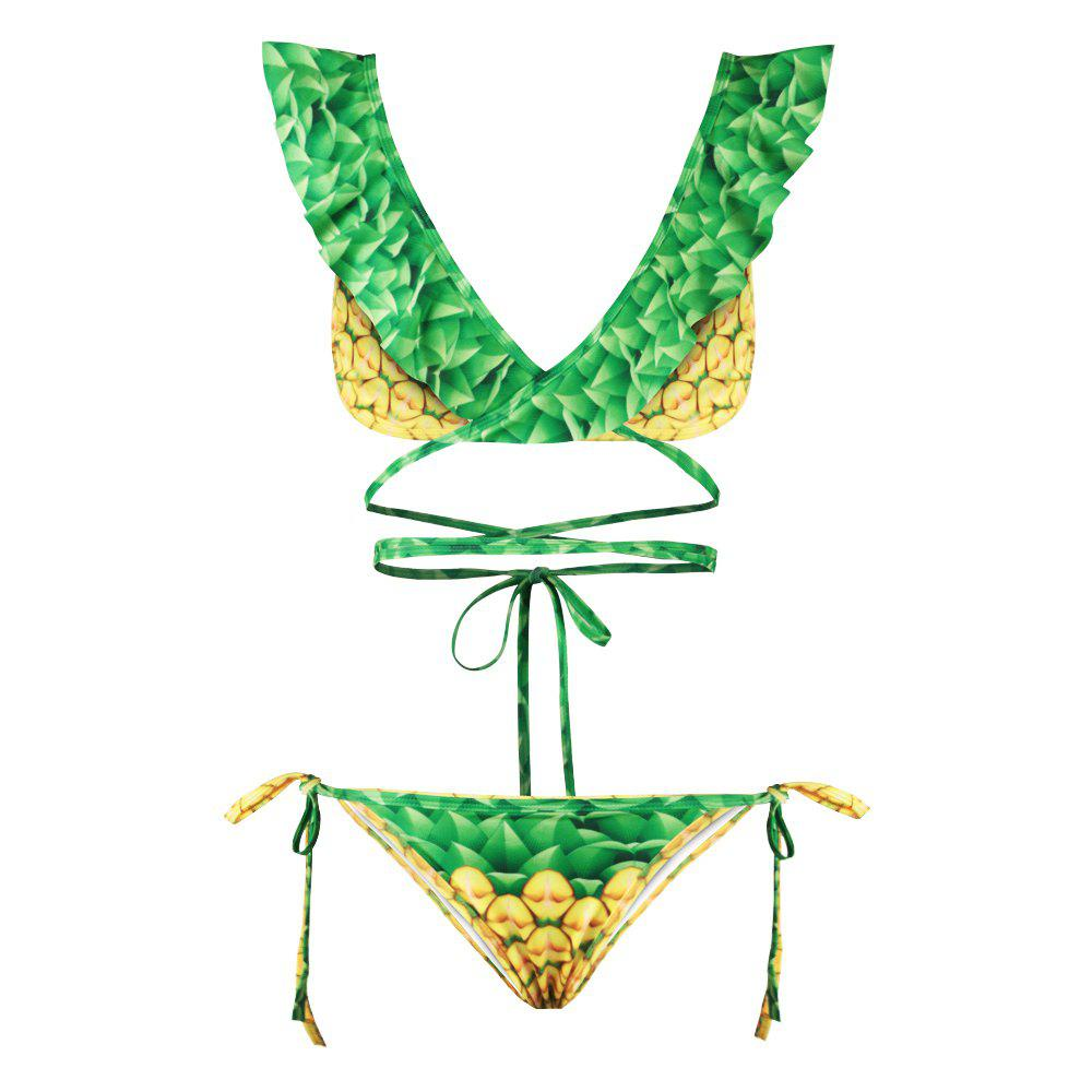 Sexy Backless Bikini Digital Print Swimwear Bathing Suit - GREEN/YELLOW L