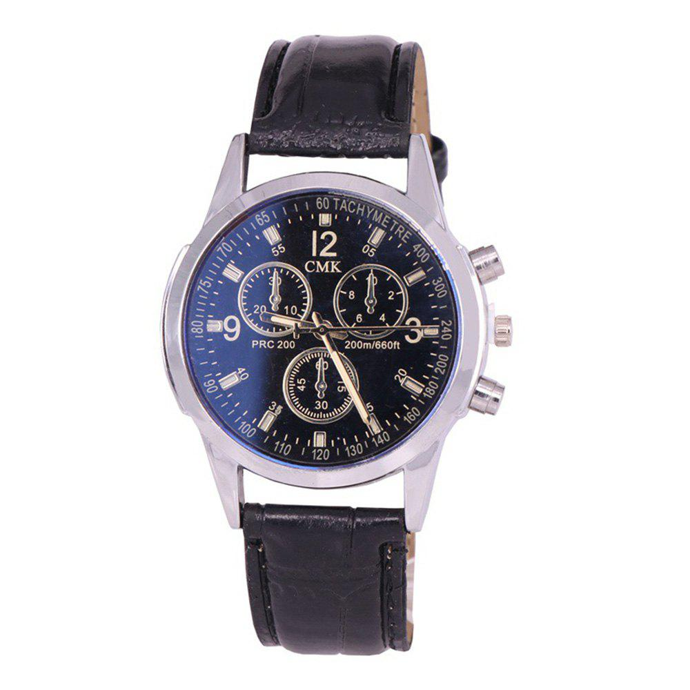 Fashion Simple Three Sub Dial PU Leather Strap Men Watch - BLACK